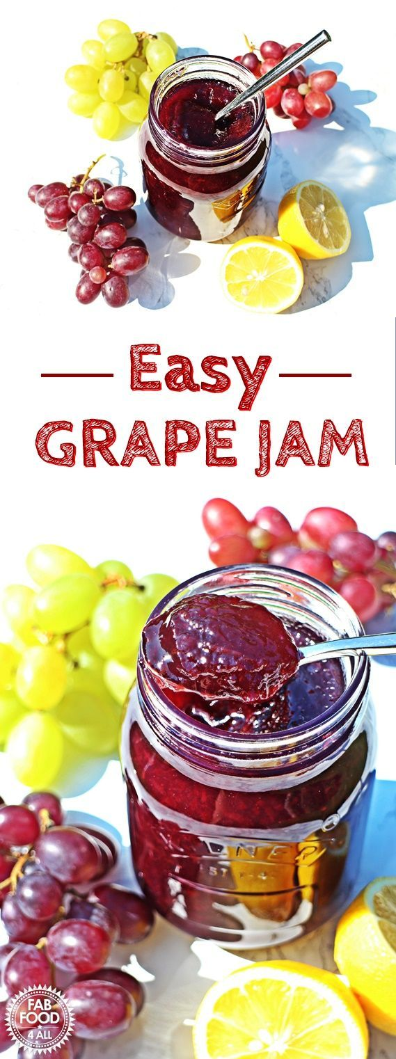 Easy Grape Jam - 3 ingredients & pectin free! @FabFood4All #grapejam #grape #jam #canning
