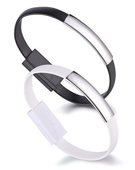 yumilok braccialetto in silicone Braccialetto Cavo Micro USB Cavo di ricarica cavo di sincronizzazione dati per Android-smartphones e Tablet, confezione da 2(Nero, Bianco)