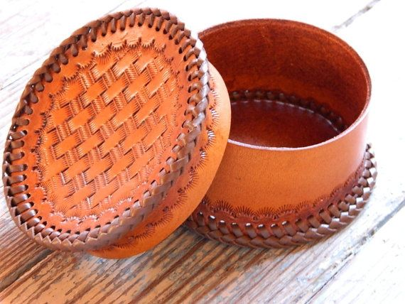 Tooled Leather Jewelry Box Brown Basketweave by WestTexasLeather, $50.00