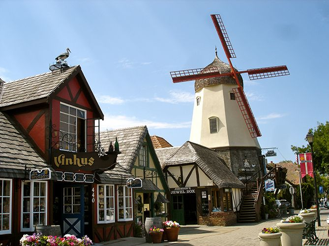 """Solvang-101 North to 154 West from Santa Barbara to Solvang (Approx. 35 miles   40 minutes)  Solvang """"California's Little Denmark"""" is a quaint little city founded by Danish settlers in the early 1900s. While Danish bakeries, shops and windmills are an amazing attraction, the town is best known for its wine and craft brew culture."""
