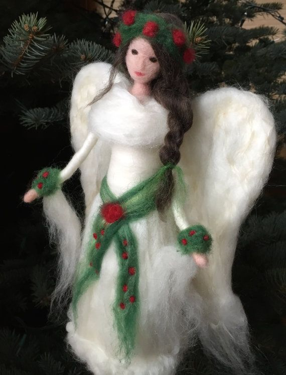 Needle Felted Waldorf Angel Tree Topper Custom by ClaudiaMarieFelt