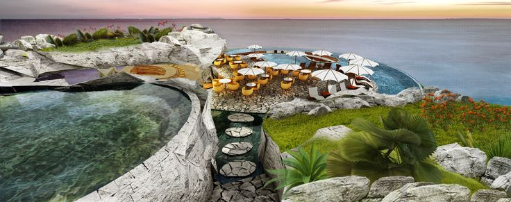 Side view with light stones added to the facade to provide a luxury outlook.  #pool #ocean #design #highend #architecture