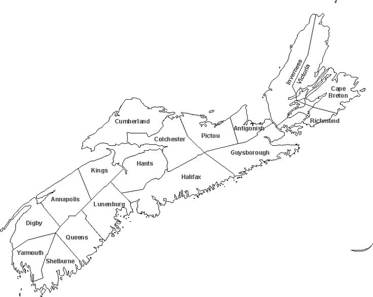 blank map of Nova Scotia province, NS outline map