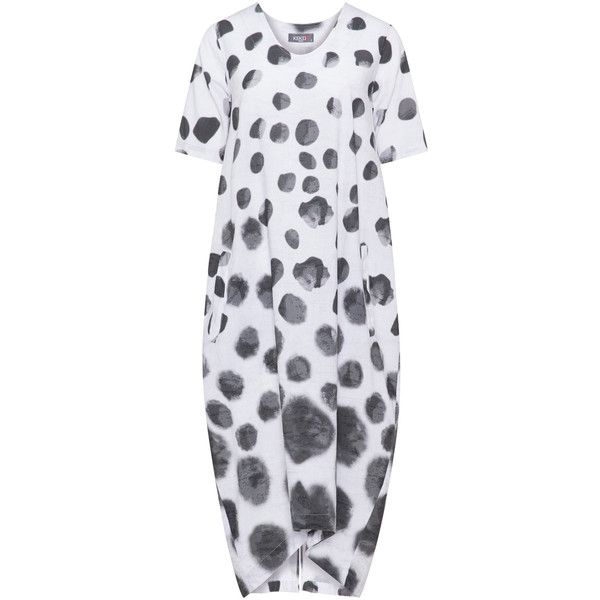 Kekoo White / Black Plus Size Spotted linen mix dress ($85) ❤ liked on Polyvore featuring dresses, plus size, white, plus size dresses, white linen dresses, short-sleeve dresses, plus size midi dresses and plus size polka dot dress