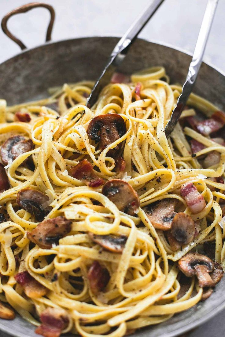 Parmesan bacon mushroom fettuccine has the most incredible flavors and comes together in just thirty minutes for the perfect go-to weeknight pasta dish.