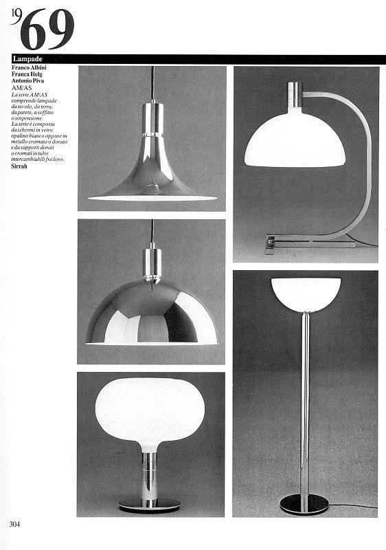Albini, Helg, Piva. Lampade serie AM/AS per Sirrah.