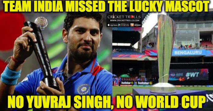 #WT20 #TeamIndia #YuvrajSingh #INDvsWI #ICCT20WC  Indian Cricket Team missed their lucky mascot Yuvraj Singh​ once again  http://www.crickettrolls.com/2016/03/31/team-india-missed-the-lucky-mascot-yuvraj-singh-wt20-2016/