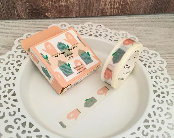 Washi Tape - Scandinavian Mittens - Winter - Blush Pink Green - Single Roll - 15mm x 7 metres - Adhesive Tape