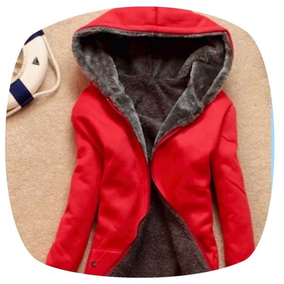 NWOT Women's red wool hooded jacket Warm & cozy!!! Zip up closure. Cotton blends with wool lining. No sizing label. One size--fits up to a medium. Independent Jackets & Coats