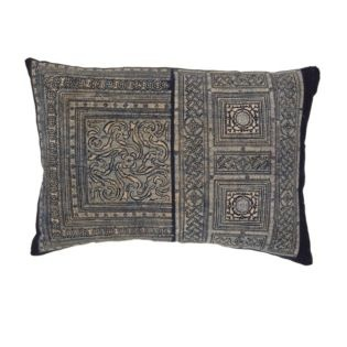 Vintage original handmade batik textile in the H'mong tradition originating in Laos, backed in linen.