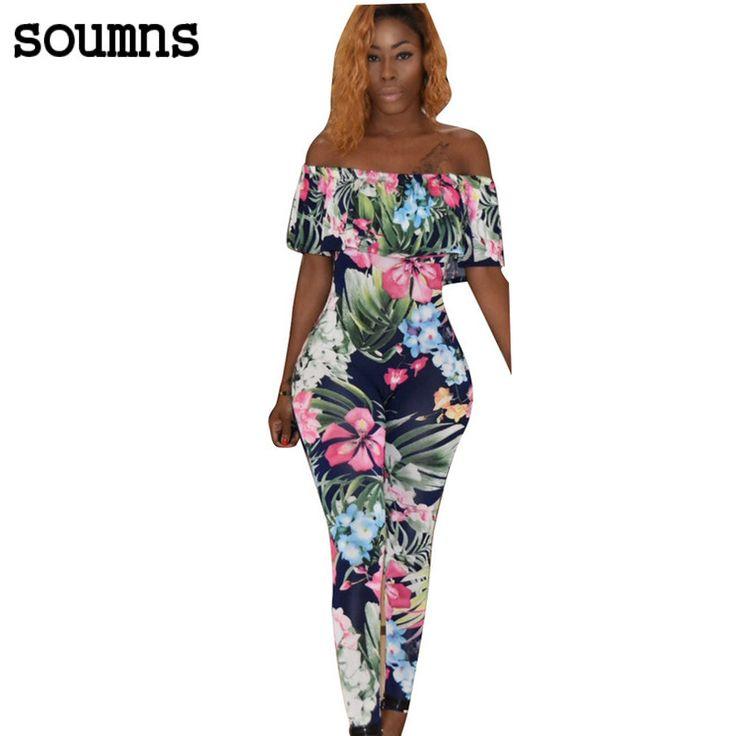 Soumns 2017 Print Jumpsuit Slash Hals Romper Bodysuit Vrouwen Bloemen Overalls Mode Dames Zomer Party Club Jumpsuits MC5316 #Affiliate