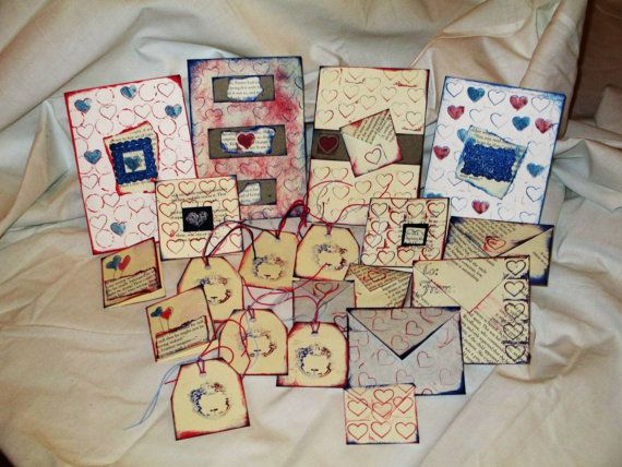 Unique Handmade set of 20 pcs Valentine cards by NIKscrapbooking in marine style. Tags, envelopes, cards, mini cards handmade by NIKscrapbooking. Ready to be shipped ! ! ! Beautiful and unique :)