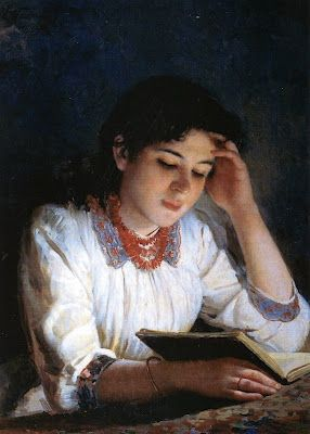 Ilya Galkin (1860-1915)  Reading  1890 I love the light in this, as though the very book is bringing enlightenment.