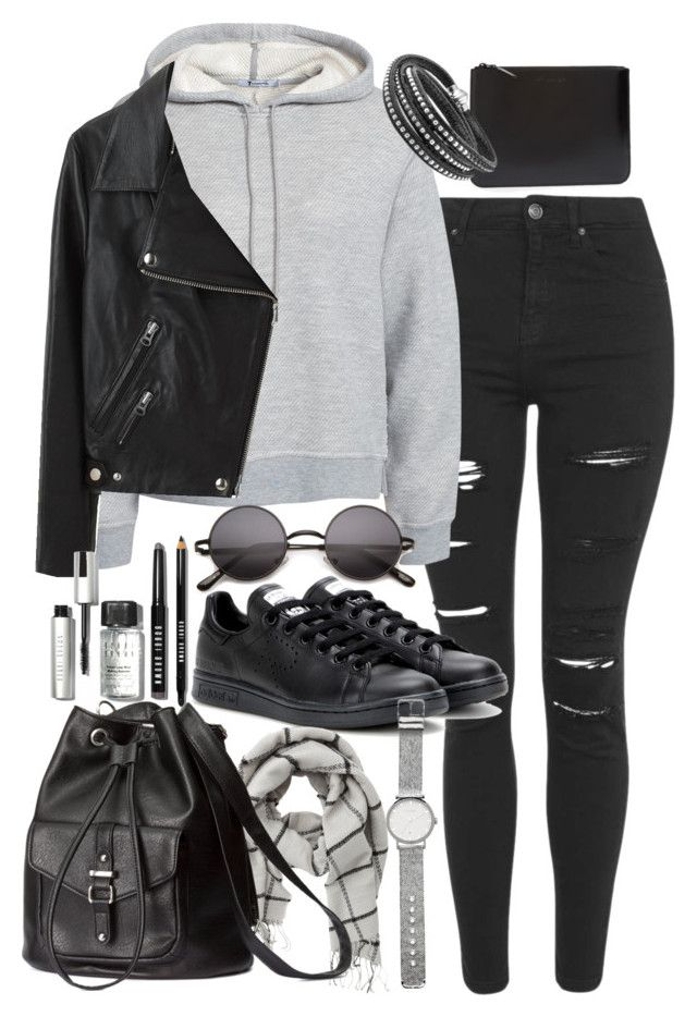 """""""Outfit for university with a leather backpack"""" by ferned on Polyvore featuring Topshop, T By Alexander Wang, Comme des Garçons, Acne Studios, adidas, VILA, H&M, Bobbi Brown Cosmetics, Witchery and women's clothing"""