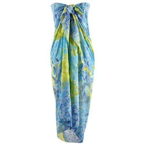 Blue  Green Splash Print Long Beach Pareo Sarong Wrap Shawl $24.99