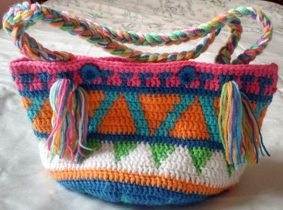 Punto crochet bolsa multicolor con estampado Azteca mercado indio nativo…