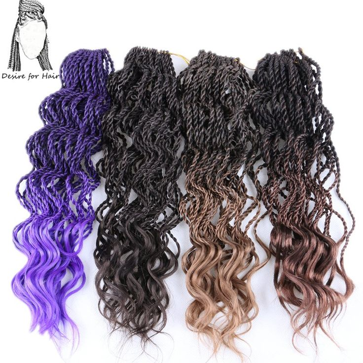 Desire for hair 8packs 18inch 80g 33-35strands per pack crochet curly senegalese twist braids synthetic hair ombre black brown