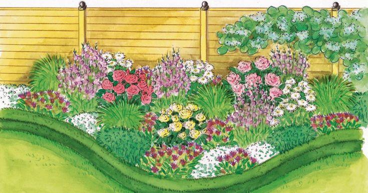 Es gibt nichts Schöneres, als von duftenden Rosen empfangen zu werden, wenn man einen Garten betritt. Ihren ganzen Reiz entfalten sie aber erst, wenn man siemit passenden Stauden kombiniert – so wie in diesemBeet zum Nachpflanzen.