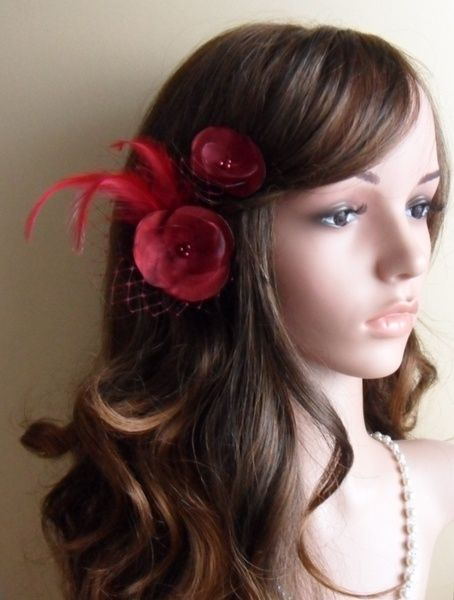 19,-  //  2 Haarblumen   bordeaux farbe Haargesteck von Cosara auf DaWanda.com
