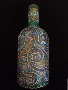 Купить Декоративное оформление бутылок - комбинированный, Декоративная бутылка, точечная роспись, ручная работа