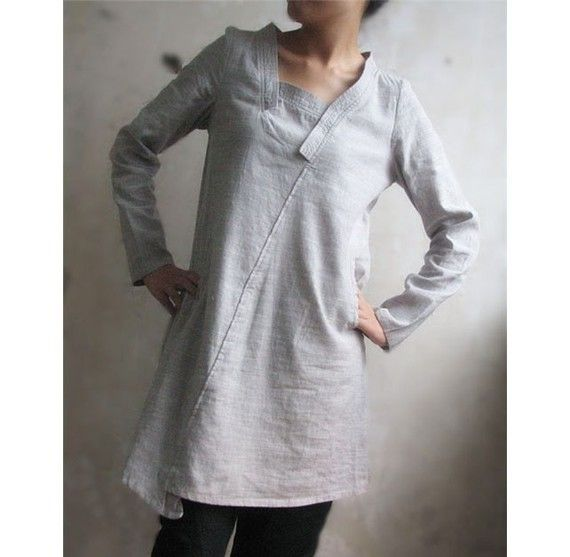 Lovely Asymmetrical Linen Dress/ 16 Colors by Ramies on Etsy