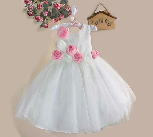 Dress zoe white rose pink, sz 3-8thn