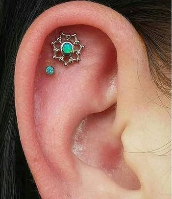 Green Opal Cartilage Piercing Stud