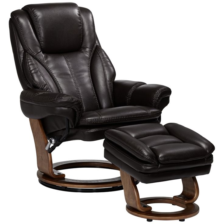 Augusta Java Faux Leather Recliner Chair With Ottoman - Style # 23T47