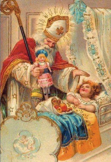 Oude prent van Sinterklaas