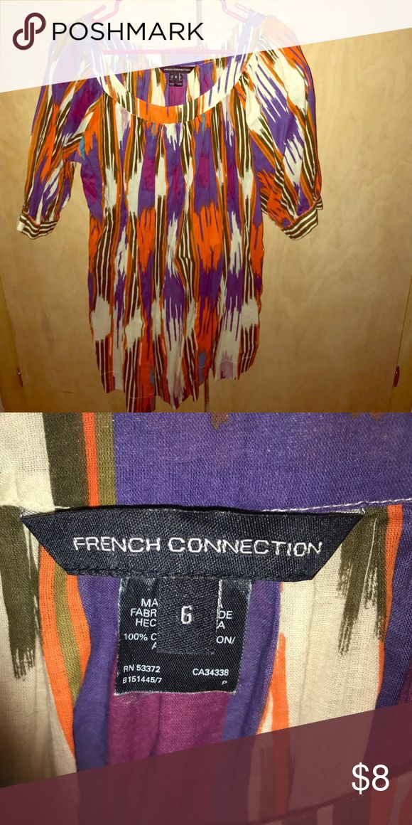French Connection Tunic Multicolor ❤️💛💚💙 3/4 sleeve French Connection Tunic. This can be worn a few different ways:::as a mini dress with a slip, as a tunic with leggings, as a swimsuit cover up. French Connection Dresses