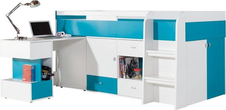 Mobi 21 biurko łóżko regał MOBI 21 ŁÓŻKO Z KOMODĄ I BIURKIEM - łóżko (bez materaca) z komodą i biurkiem, powierzchnia spania 90x200 . To idealny pomysł na zagospodarowanie małego pokoju dziecięcego , łóżko MO 21 to połączenie funkcjonalności z praktyką . Łóżko posiada ciekawe wysuwne biurko , które na dzień pełni rolę miejsca do zabaw jak i odrabiania zadań domowych a wieczorem ukryte nie zabiera miejsca .
