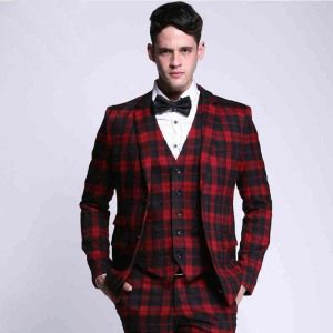 Red Plaid Suit Fashion 2piece Men Suit