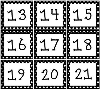 FREE! Black and white polka dot calendar set!