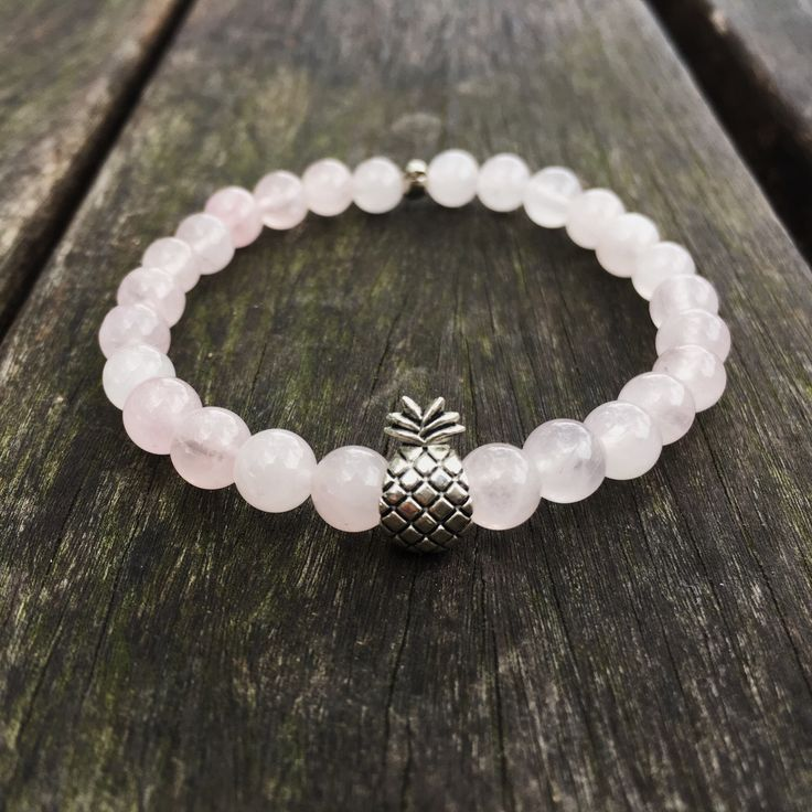 Stretchy bracelet, women accessories, rose quartz, natural stones jewelry, pineapple charm, beaded bracelet, gifts for her