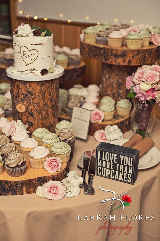 Mountain Themed Cupcake Display with Aspen Log cutting cake.