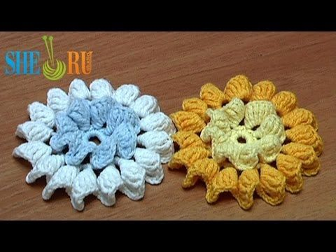 ▶ Crochet Flower How to Folded Petals In Center and Around Tutorial 35 - YouTube