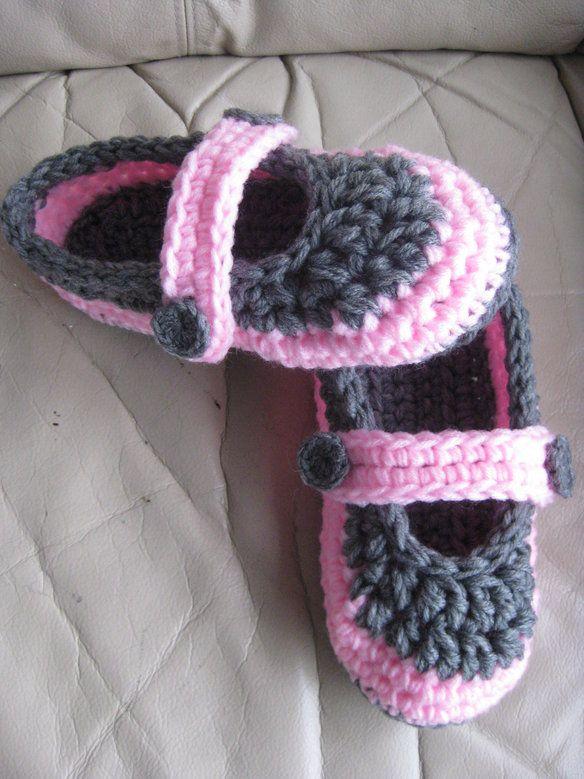 Crochet slippers fit size 7 - 7.5 —