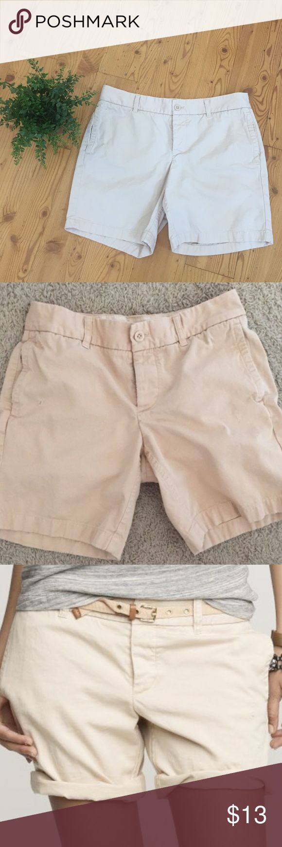 JCrew Broken in Boyfriend khaki Short Sz 8 Pre owned JCrew short, light peach color, good condition ,length 26, waist 17. J. Crew Shorts Bermudas