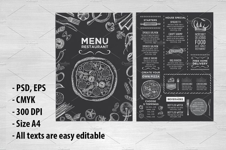 Food menu, restaurant flyer #8 by BarcelonaShop on @creativemarket