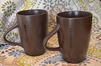 Starbucks Coffee Mug Chocolate Brown Mugs 10.5 Oz Pair Tea Set