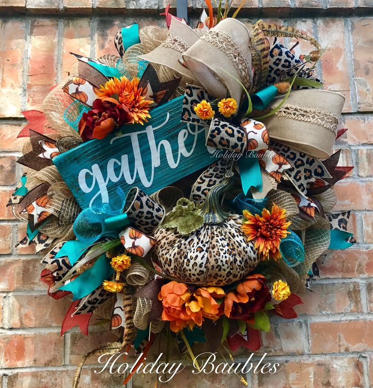 """Fall Wreath Leopard Fall Wreath Gather Fall Wreath - by Holiday Baubles - 26"""" burlap jute base on a wire form..layered in 10"""" deco mesh and burlap fillers for fullness. Different pattern and texture wire ribbon through out wreath of leopard w copper burlap, rustic burlap, pumpkin canvas, teal, and solid brown #autumnwreath (affiliate link)"""