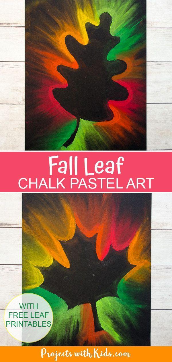 Gorgeous Fall Leaf Chalk Pastel Art Kids …