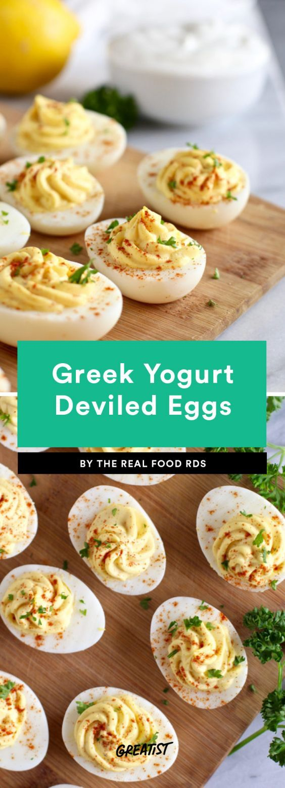 Greek Yogurt Deviled Eggs People tend to be split when it comes to deviled eggs, but if you're a fan, you have to try this Greek yogurt-based version. Yogurt takes the place of mayo and gives the eggs a slightly tangier taste.