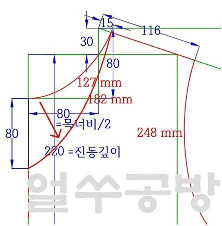 브이넥티는 목선을 제외하면 라운드티 옷본그리기와 동일한 방법으로 그린다. 목선이 라운드가 아니라 브이...