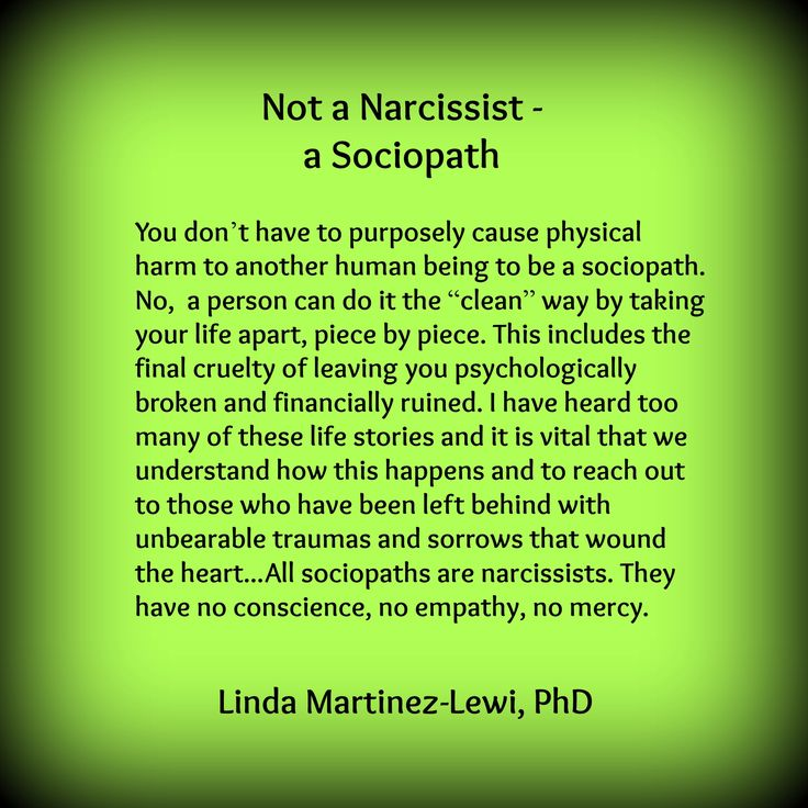 My Mum. Not a Narcissist–a Sociopath by Linda Martinez-Lewi, PhD at http://thenarcissistinyourlife.com/not-a-narcissist-heshe-is-a-sociopath/