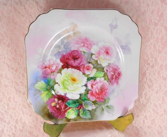 Pink Holiday Sale Hand Painted Rose Plates by VictoriannaCharmers