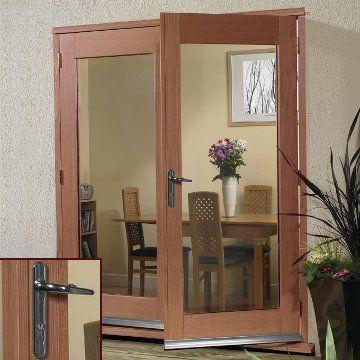 Chrome fittings and La Porte Hardwood French Door Pair & Frame Set
