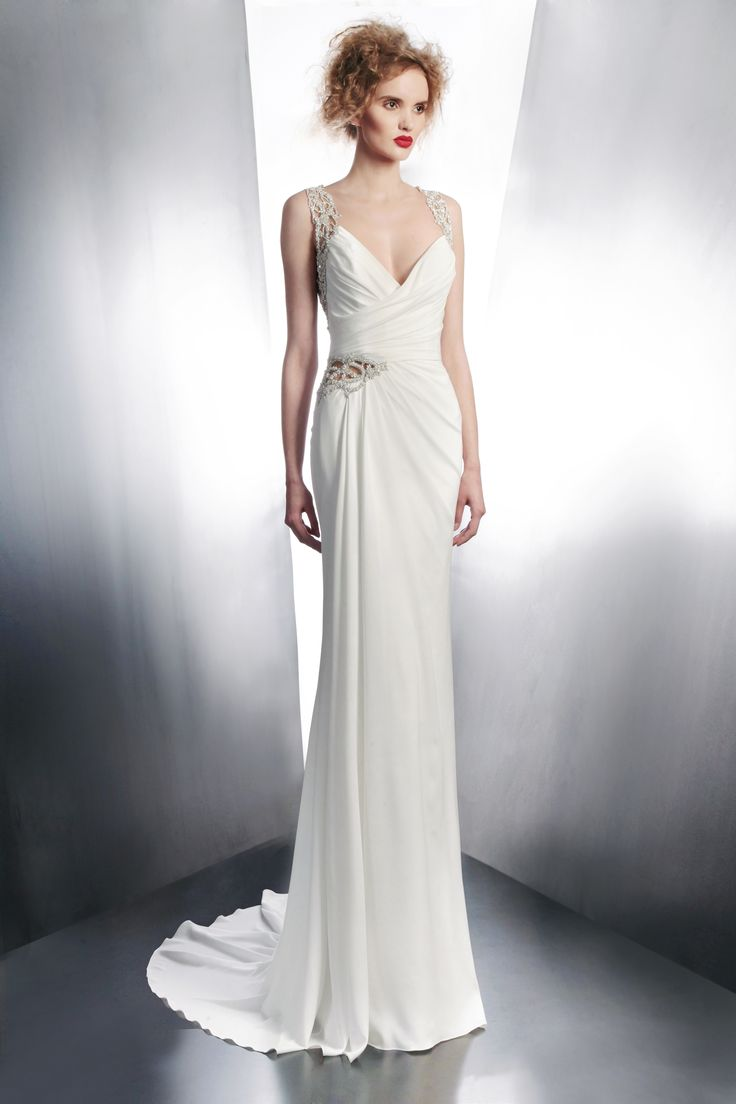 Gemy Maalouf Bridal Fall Winter 2017 Sleeveless D Gown With Embellished Straps Style 4131