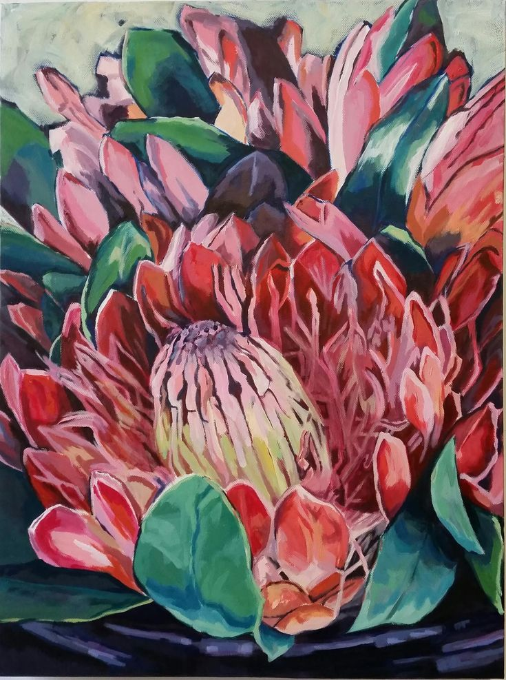 //Constantia Glen Proteas: Acrylic on Canvas #art #painting #flowers