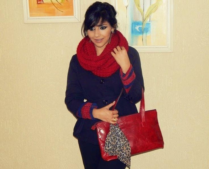Diário da Moda: Look do dia: Cachecol vermelho +listra + preto com vermelho